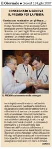 Articolo Andrea Macco - il Giornale 19-07-07 - Premio per la Fisica - Grafene