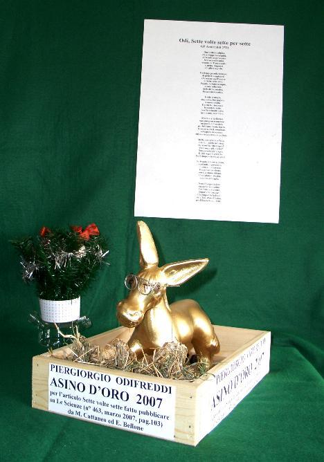 L'asino d'oro 2007 assegnato da un gruppo di Scienziati a Piergiorgio Odifreddi