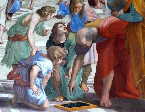 """Euclide insegna la Geometria (dettaglio della """"Scuola di Atene"""" di Raffaello Sanzio)"""